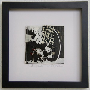 SHOP #Artist Support Pledge Stitched Collage, Rice Paper, Sumi Ink, Acrylic Ink, Wax Resist, Linen Thread, Beads