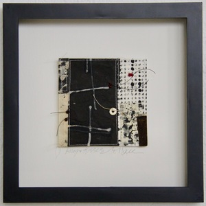 SHOP #Artist Support Pledge Stitched Collage, Rice Paper, Sumi Ink, India Ink, Walnut Ink, Wax Resist, Linen Thread, Beads