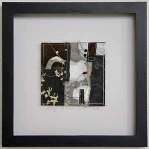 SHOP #Artist Support Pledge Stitched Collage, Rice Paper, Sumi Ink, Walnut Ink, Encaustic, Wax Resist, Linen Thread, Beads
