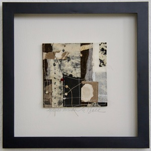 SHOP #Artist Support Pledge Stitched Collage, Rice Paper, Walnut Ink, Sumi Ink, Acrylic Ink, Wax Resist, Linen Thread, Beads
