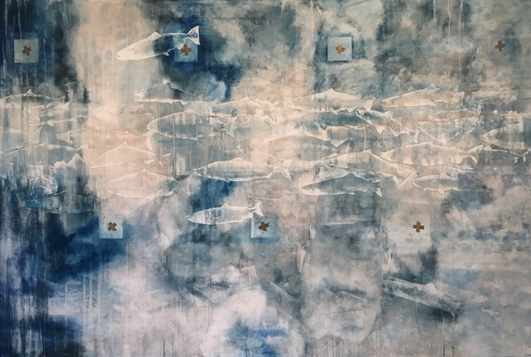 MARY GILLIS Large Paintings pastel, acrylic and graphite on linen