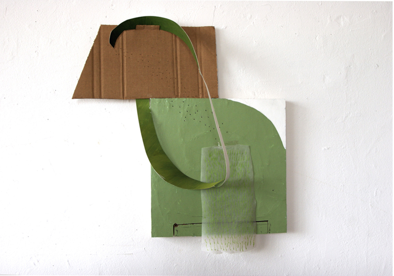 Mary Beth Muscara Smaller Wall Pieces acrylic, cardboard, paper on board