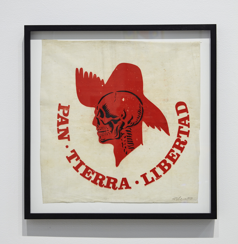 Miguel Luciano Ride or Die Mixed media on vintage campaign flag of the Partido Popular Democratico (PPD), Puerto Rico's pro-commonwealth party (c.1970s).