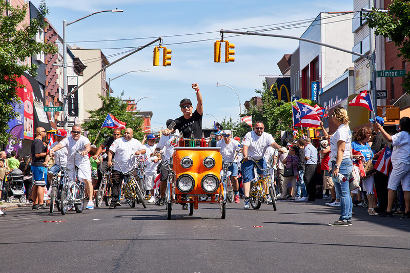 Miguel Luciano Pimp My Piragua Riding with the Classic Riders in the Bushwick Puerto RIcan Day Parade, 2019.