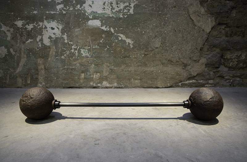 Miguel Luciano Colonial Weight Iron cannonballs (c.17th Century / Spanish colonial era, Puerto Rico), steel.