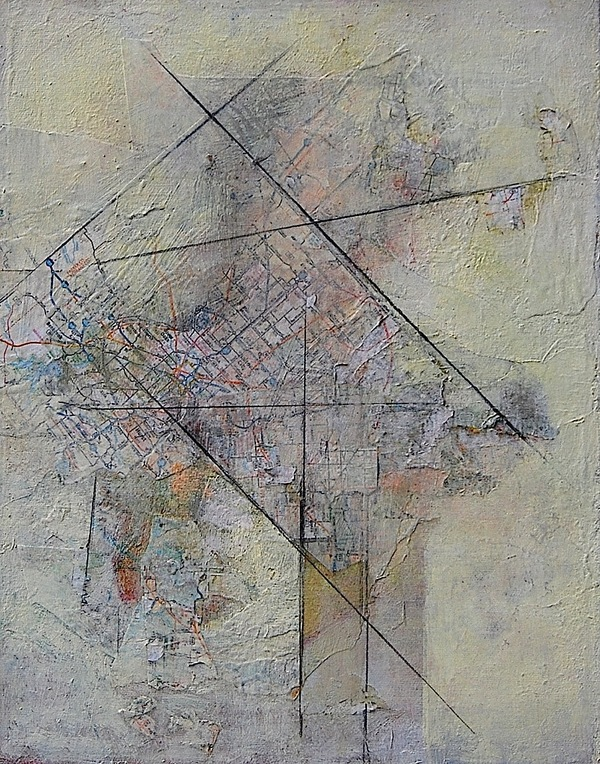 Patty Stone Mapping 2009-2016 oil, collage on canvas