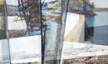 Patty Stone Charles River Collage inkjet prints, acrylic on canvas