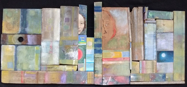 Pete Seligman Constructions Oil, metal, textile, book cover, collage on wood