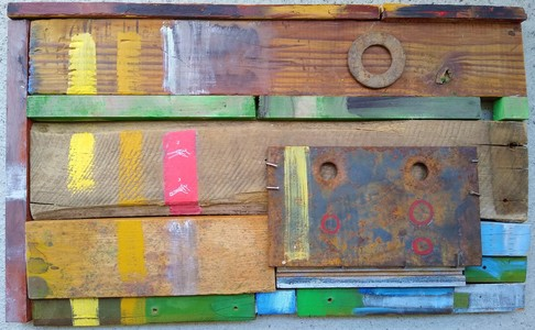 Pete Seligman Constructions wood, steel, acrylic paint, collage