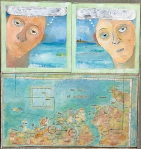 Pete Seligman Paintings oil, newspaper, map on wood