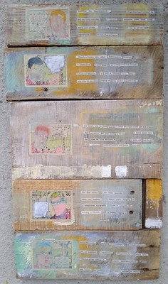 Pete Seligman Collages Newspaper pictures and text & acrylic on wood