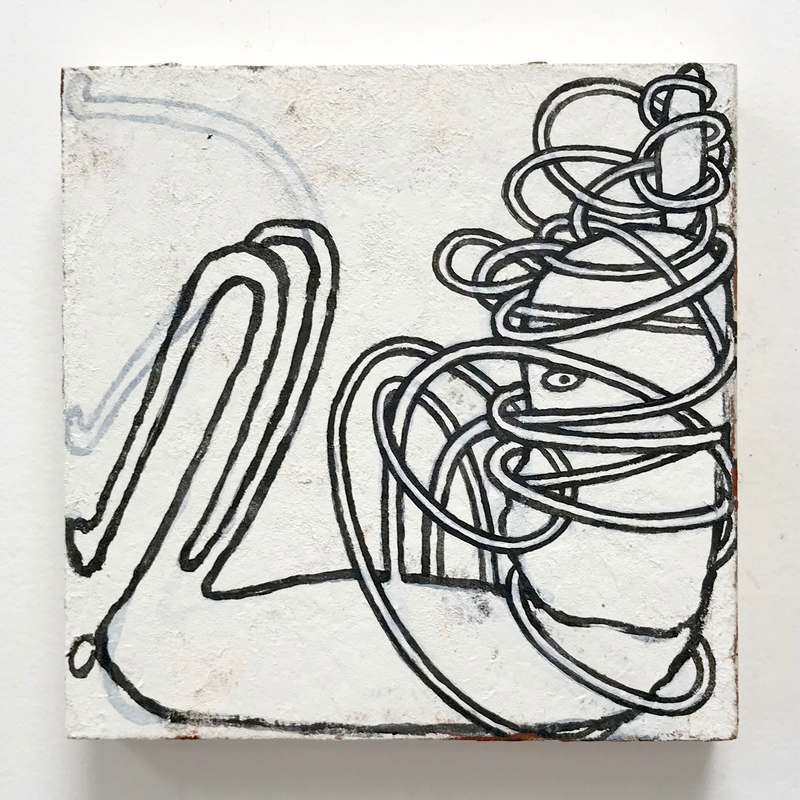 tangles paper and acrylic on wood