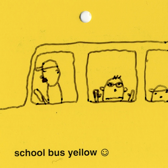 objects & altered school bus yellow