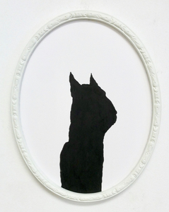 Rebecca Doughty somebodies ink on paper in painted frame