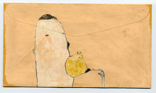 Rebecca Doughty objects & altered gouache and pencil on envelope