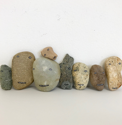 Rebecca Doughty objects & altered acrylic on rocks