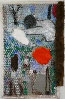 ROBERT SOLOMON gardens/landscapes acrylic, gesso, faux fur, felt on sisal carpet