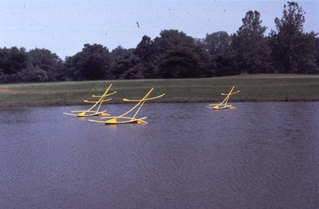Roy Wilson Public Art on Water aluminum, stainless, flotation, with 4 wind arms