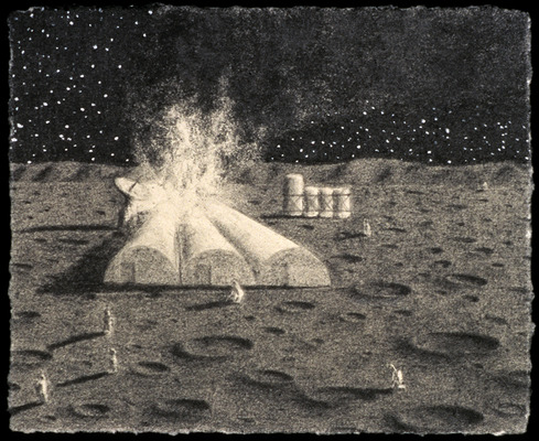 Scott Espeseth Backyard Premonitions Graphite and Gouache on Paper
