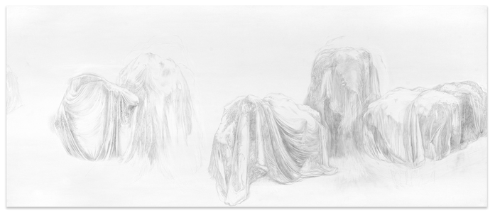 Shona Macdonald Ghosts silverpoint and graphite on terraskin on sintra with wood