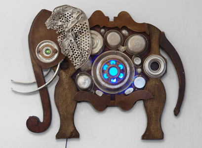 Rusty Crocodiles - The Assemblage Art of Scott Rolfe Recent Animal Works Assemblage with LED lighting