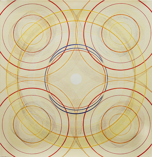 Tayo Heuser Large Circle Square Drawings Ink on hand burnished paper