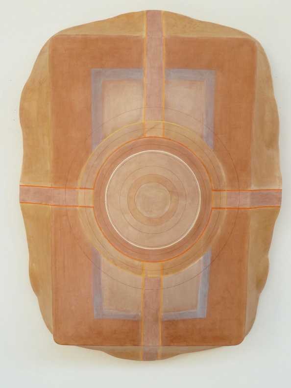 "Tayo Heuser Paper ""Shields"" Abaca and linen handmade and hand tinted paper, ink mounted to hand molded acrylic backing"