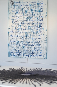 "Tayo Heuser ""The Big Blue"" Exhibition Gallery Roger Williams University ink and blue paintballs"