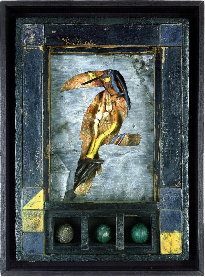 todd bartel Assemblages 1982-1989 tempera, casein, Italian letter (c. 1880), vines, human teeth, lead, horse tail hair, glass slide mounts, malachite, marble, toy wood blocks, wood box, glass