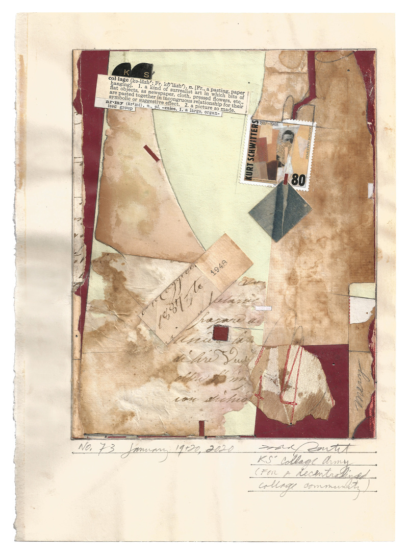todd bartel Homages collage, 19th-century paper, wall paper fragment, dictionary definitions, dictionary letter tabs, stamp, 1887 hand written Italian letter remnants, Yes glue, watercolor, pencil, typewriter ink
