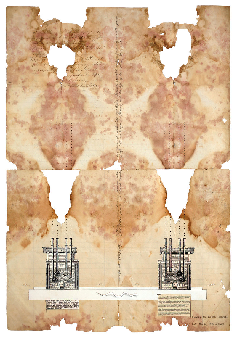 todd bartel Landscape Vernacular burnished puzzle-piece-fit collage, Italian Letter (dated 1998 verso), xerographic prints on nineteenth- and twentieth-century end-pages, pencil, Yes Glue, document repair tape, dictionary definitions