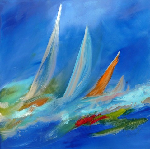 Sails oil on metal