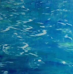 Reflections on Water oil on anodized aluminum