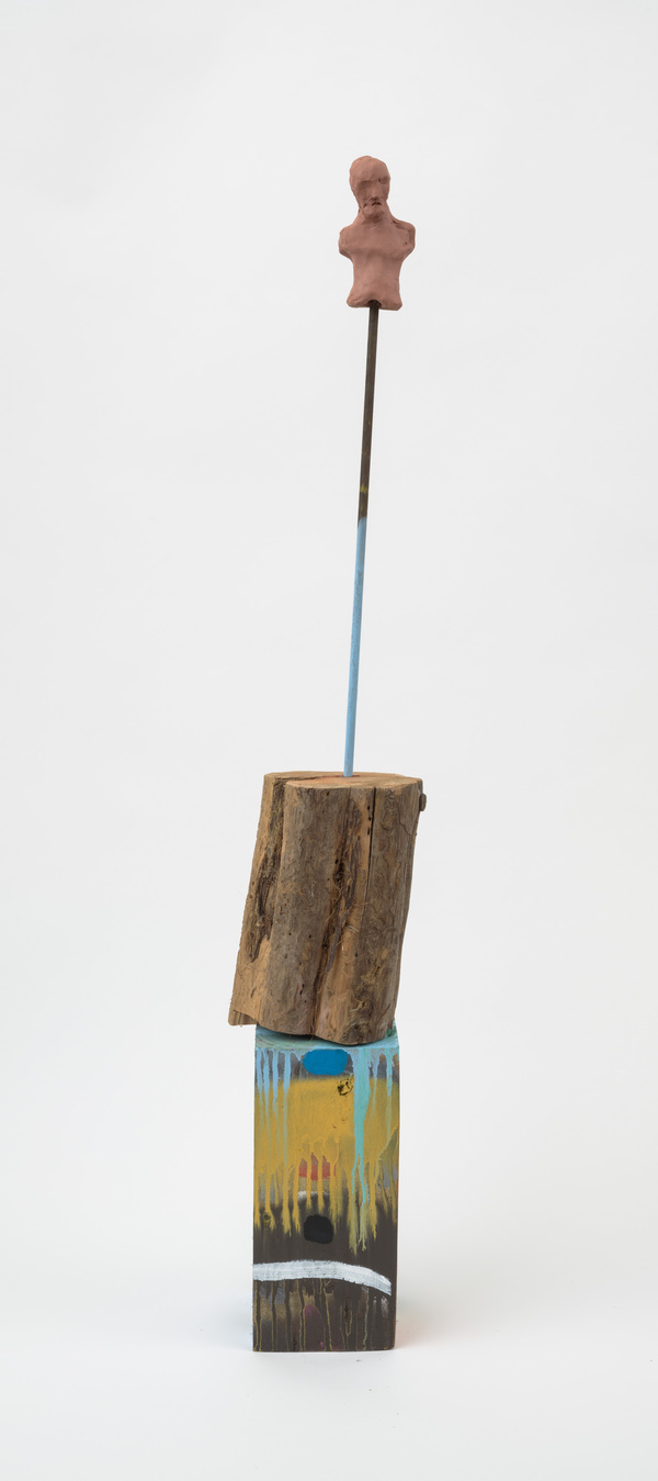 William Staples Sculpture Clay, metal, cedar, spray paint and acrylic on wood