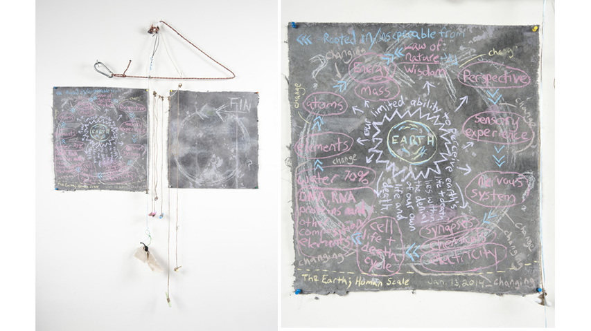 Work on Paper Hemp, handmade chalkboards, chalk, rags, found street materials, rope, climber's clip