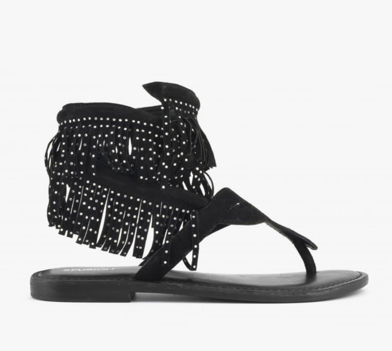 schiava nabuk frange strass CB FUSION | Sandalo | R221003BL