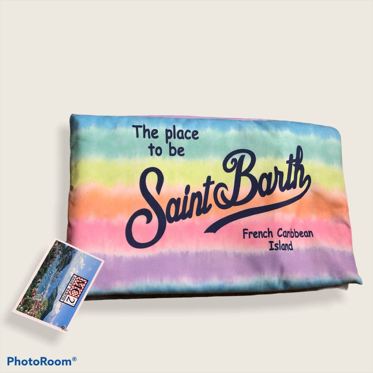 aidan rainbow stripes die microfibre SAINT BARTH | Telo mare | AID0001RNWSDMUL
