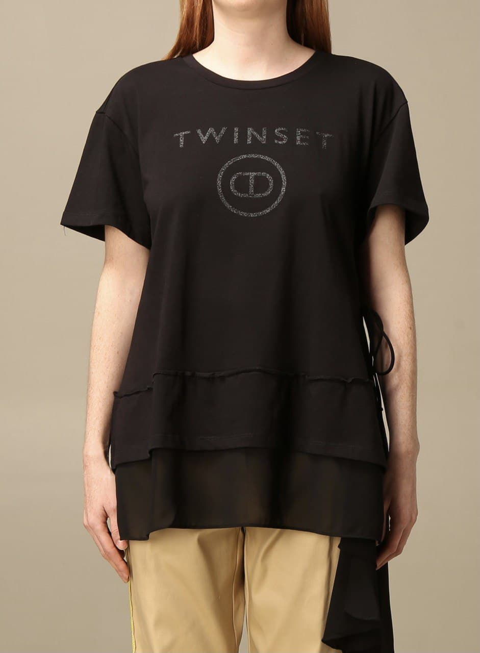 volant fondo chiffon laccetti TWIN SET COLLECTION   T-shirt   211TT251000006