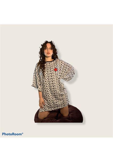 maxi t-shirt logo allover foglia d'acero Dsquared2 | Abito | D6M323010018