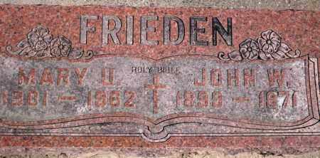 FRIEDEN, MARY U. - Rock Island County, Illinois | MARY U. FRIEDEN - Illinois Gravestone Photos