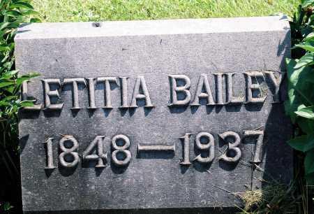 BAILEY, LETITIA - Tazewell County, Illinois | LETITIA BAILEY - Illinois Gravestone Photos