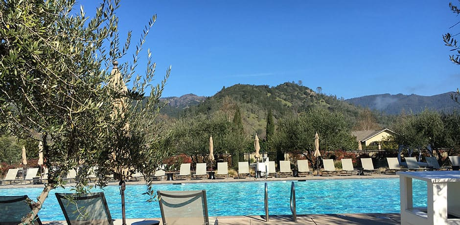 The pool area at Solage Calistoga