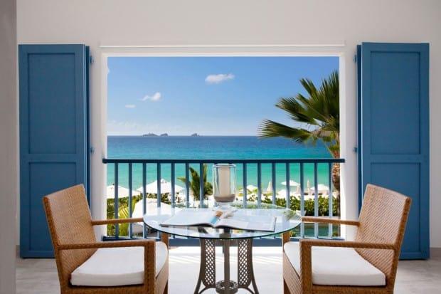 Beach Room Terrace at Cheval Blanc St-Barth Isle de France, St. Barth's, Caribbean - Courtesy P. Carreau