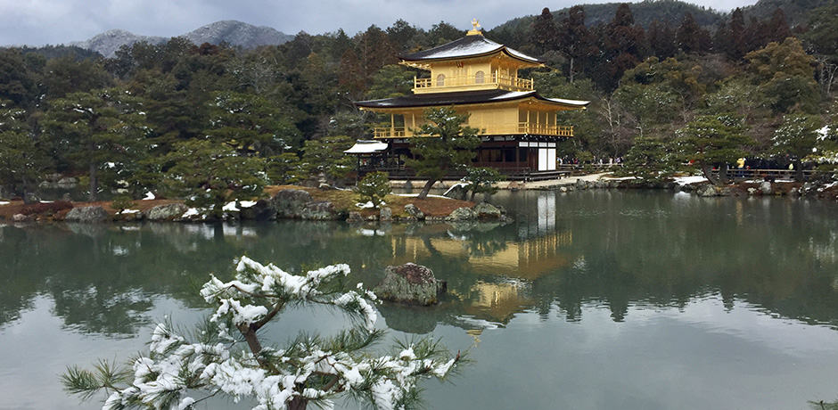 The Golden Pavillion after a snowfall in Kyoto