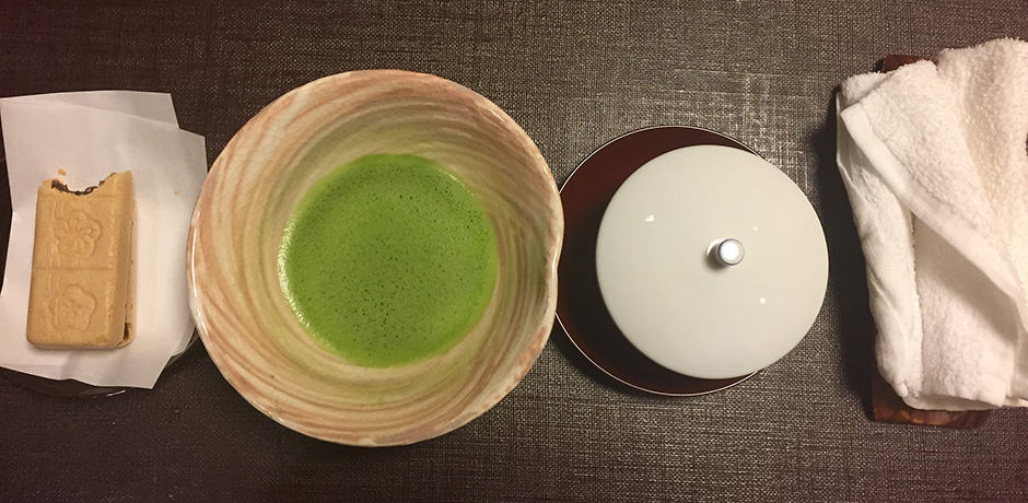 Pre-dinner matcha and cookies