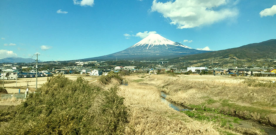 Mt. Fuji as seen from the Bullet Train