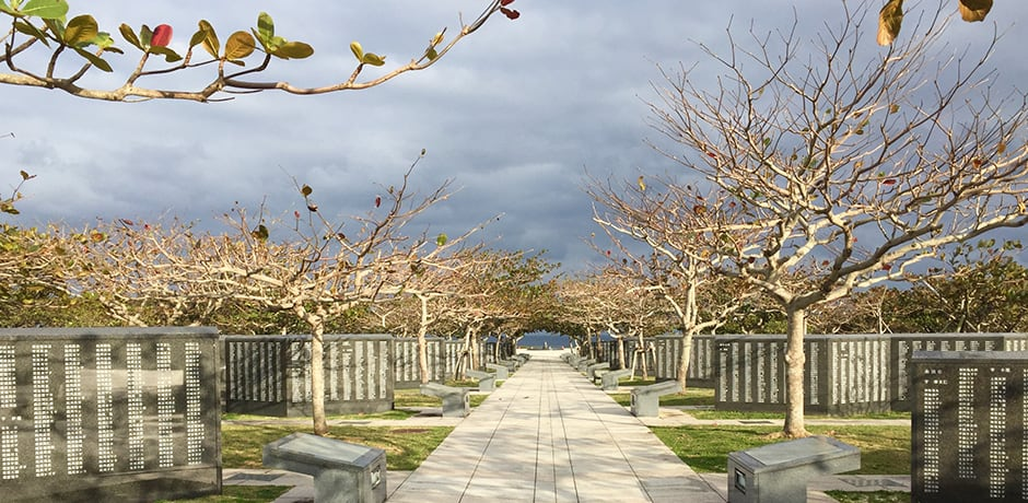 The Okinawa Peace Memorial Park honors the lives lost during the Battle of Okinawa