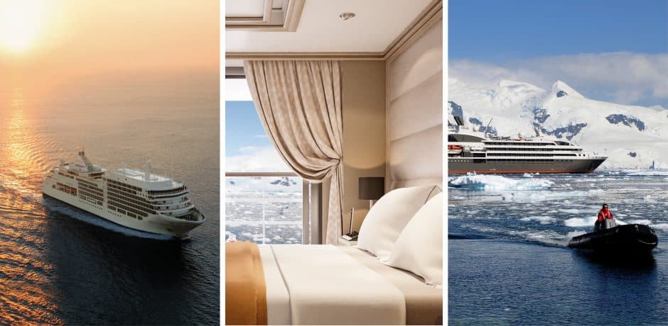 Left and center: Silversea; Right: Ponant