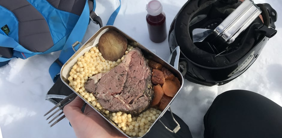 A delicious picnic lunch of steak, roasted carrots and Israeli couscous.