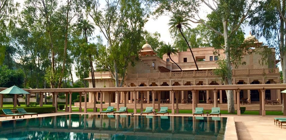 Poolside at the serene Amanbagh resort